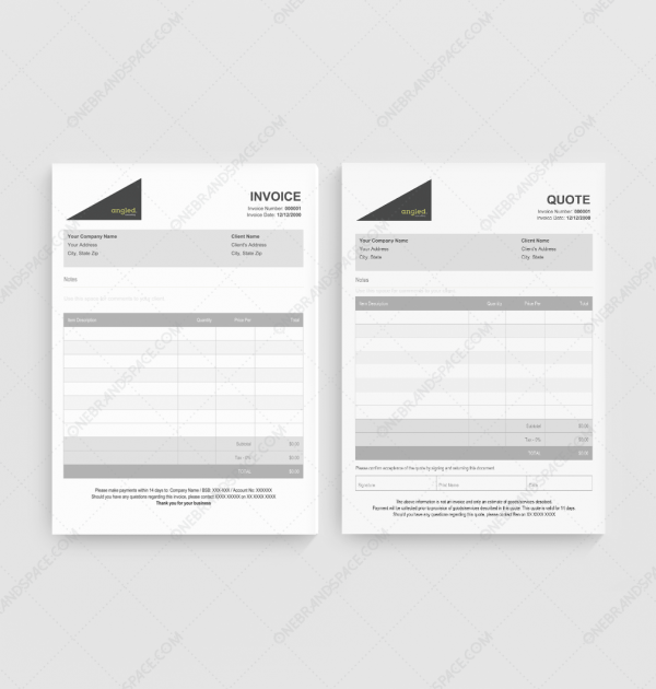 Angled Quote Invoice Templates for Business